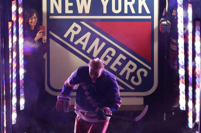 New York Rangers rookie Kaapo Kakko is introduced before the Rangers' game against the Winnipeg Jets on Oct. 3, 2019, at Madison Square Garden in New York City. The Rangers selected Kakko with the No. 2 overall pick last year. File Photo by John Angelillo/UPI