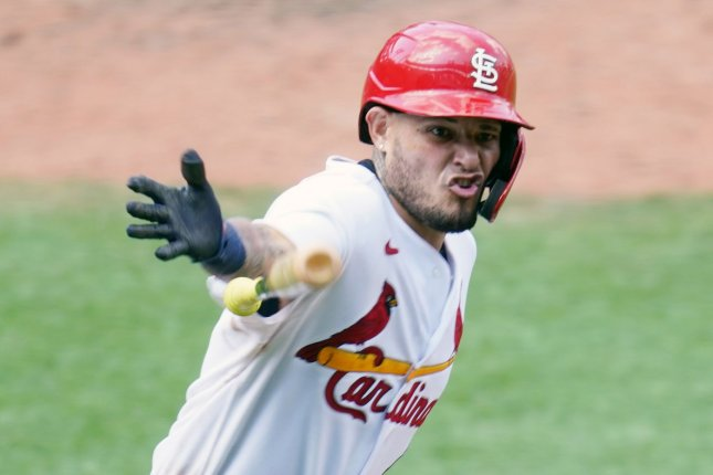 St. Louis Cardinals catcher Yadier Molina went 4 for 5 with two RBIs and a run scored in a win over the Cincinnati Reds Sunday in St. Louis. Photo by Bill Greenblatt/UPI