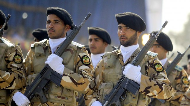 Iranian Army soldiers march in front of the mausoleum of the Iran's late leader Ayatollah Khomeini in Tehran, Iran on April 17, 2012. UPI/Maryam Rahmanian