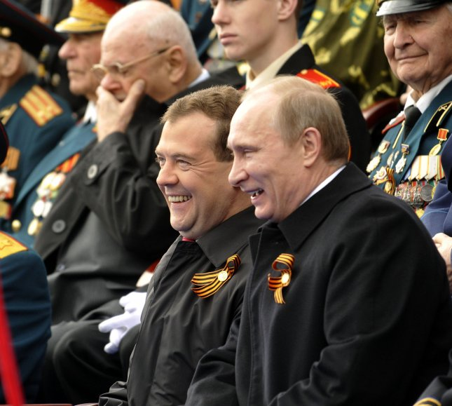 Russian President Dmitry Medvedev (L)and Prime Minister Vladimir Putin attend a military parade in Red Square on the Victory Day in Moscow on May 09, 2011. Today Russia celebrates the 66th anniversary of victory over Nazi Germany. UPI Photo/Stringer.