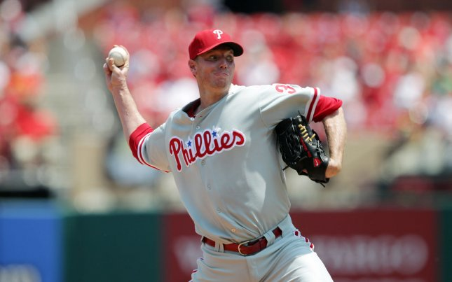 Philadelphia Phillies starting pitcher Roy Halladay delivers a pitch to the St. Louis Cardinals in the second inning at Busch Stadium in St. Louis on May 27, 2012. St. Louis won the game 8-3. UPI/Bill Greenblatt