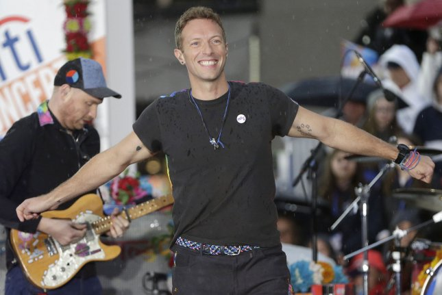 Chris Martin and Coldplay perform on NBC's Today on March 14. Martin paid tribute to late singer George Michael at the 2017 Brit Awards alongside Wham! partner Andrew Ridgeley and backup singers Pepsi and Shirlie. File Photo by John Angelillo/UPI