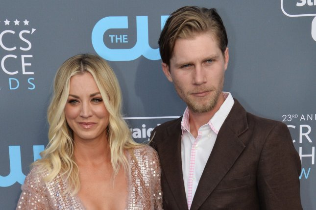 Kaley Cuoco (L), pictured with Karl Cook, was fêted by family and friends at her bachelorette party. File Photo by Jim Ruymen/UPI