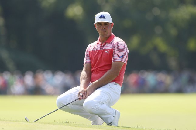 PGA golfer and leader Gary Woodland reacts after missing his putt on the first hole in the second round of the PGA Championship on Friday at Bellerive Country Club in Town and Country, Mo. Photo by Bill Greenblatt/UPI