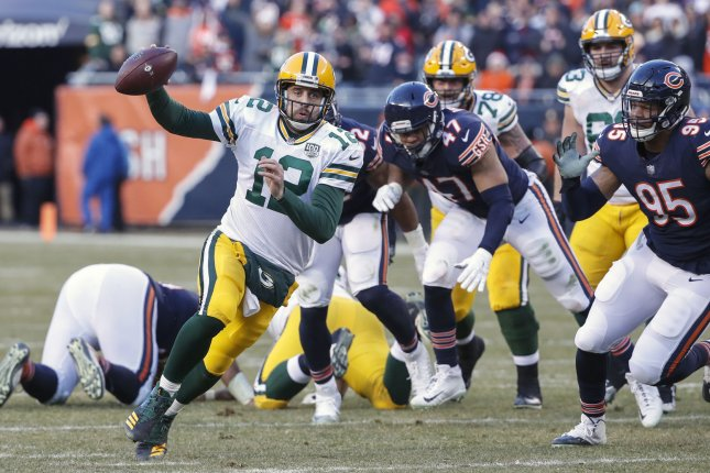 Green Bay Packers quarterback Aaron Rodgers scrambles during a game against the Chicago Bears on December 16, 2018. Photo by Kamil Krzaczynski/UPI