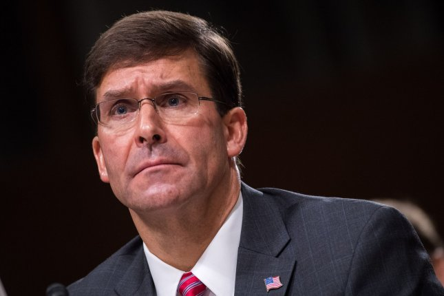 Secretary of Defense Mark Esper said Monday that the United States must accelerate and lead in adoption of artificial intelligence technologies to maintain the country's strategic position. File Photo by Kevin Dietsch/UPI