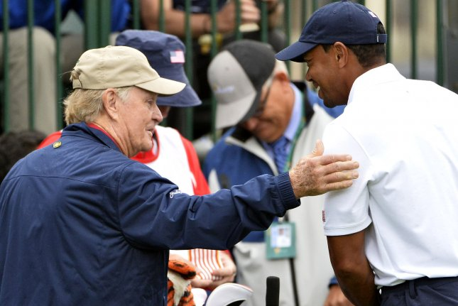 Jack Nicklaus (L) and Tiger Woods (R) will compete in a virtual version of the British Open from July 16 to 19 on British Open social media platforms and on the Golf Channel. File Photo by Brian Kersey/UPI