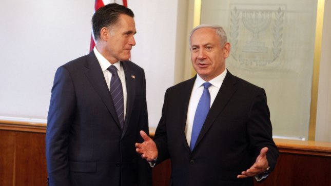 Israeli Prime Minister Binyamin Netanyahu and U.S. Republican presidential candidate Mitt Romney (L) speak before a meeting at the Prime Minister's office on July 29, 2012 in Jerusalem, Israel. UPI/Lior Mizrahi/Pool
