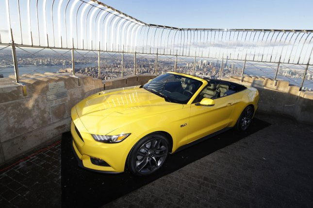 aa94aa9fa4 A fully assembled 2015 Mustang convertible is on display on the observation  deck of the Empire State Building at a press event as part of the New York  ...
