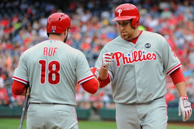 Philadelphia Phillies starting pitcher Aaron Harang (34) is congratulated by left fielder Darin Ruf (18) after scoring on a bases loaded walk against the Washington Nationals in the fifth inning at Nationals Park in Washington, D.C. on September 27, 2015. Photo by Mark Goldman/UPI