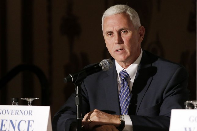 Indiana Gov. Mike Pence speaks at the Republican Governors Association meeting in 2014. Pence was officially tapped Friday to serve as the vice presidential running mate for Republican Donald Trump. File photo by John Angelillo/UPI