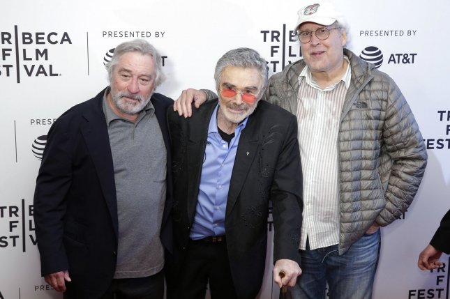 Burt Reynolds (C) pictured here with Robert De Niro (L) and Chevy Chase (R), stars in the new trailer for The Last Movie Star alongside Ariel Winter. File Photo by John Angelillo/UPI