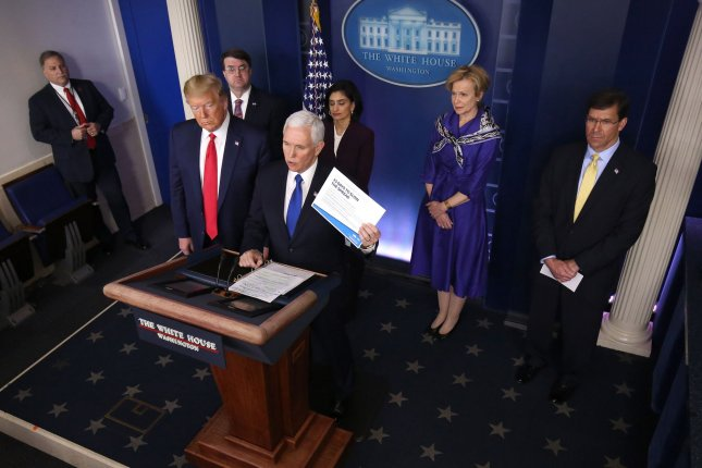 U.S. Vice President Mike Pence gives an update on the federal response to the coronavirus pandemic in a briefing at the White House on Wednesday. Photo Kevin Dietsch/UPI