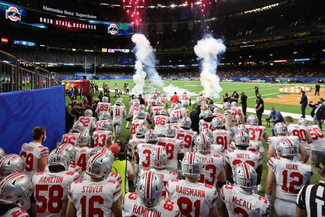The Ohio State Buckeyes could be shorthanded for the College Football Playoff National Championship game on Monday, due to COVID-19 issues within the program, but the game remains on schedule. File Photo by Aaron Josefczyk/UPI