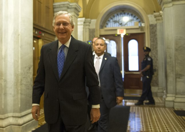 Senate Minority Leader Mitch McConnell, pictured arriving at the U.S. Capitol Oct. 16, 2013.. UPI/Kevin Dietsch