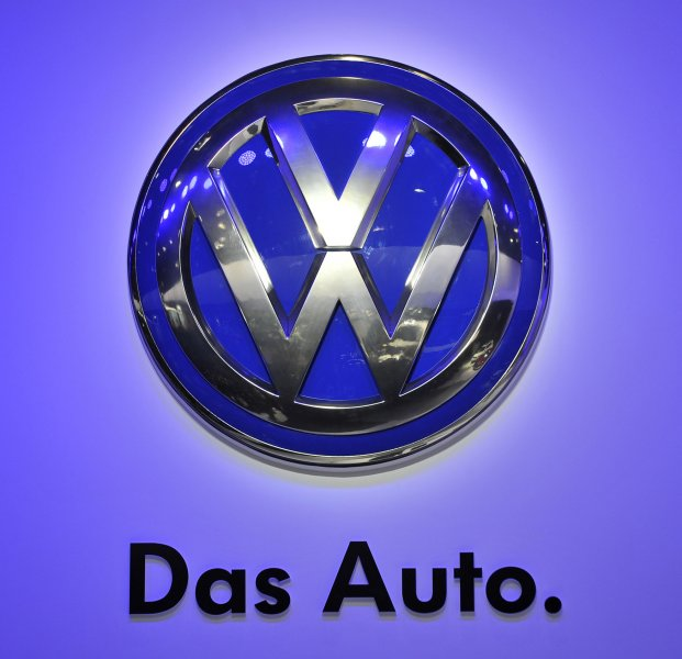 The Volkswagen logo is displayed at the 2013 North American International Auto Show in Detroit on January 14, 2013. UPI/Brian Kersey
