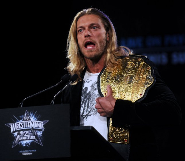 WWE Heavyweight Champion Edge attends a press conference at New York's Hard Rock Cafe to promote the 25th anniversary of Wrestlemania to be held on April 5, 2009 in Houston Texas. (UPI Photo/Ezio Petersen)