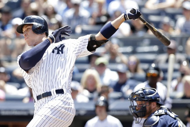 New York Yankees Aaron Judge hits a single in the first inning against the Milwaukee Brewers at Yankee Stadium in New York City on July 9, 2017. File photo by John Angelillo/UPI