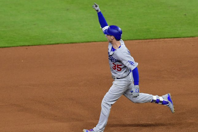 Los Angeles Dodgers Cody Bellinger celebrates his three-run home run against the Houston Astros in the fifth inning of the 2017 MLB World Series game five at Minute Maid Park in Houston, Texas on October 29, 2017. File photo by David Tulis/UPI