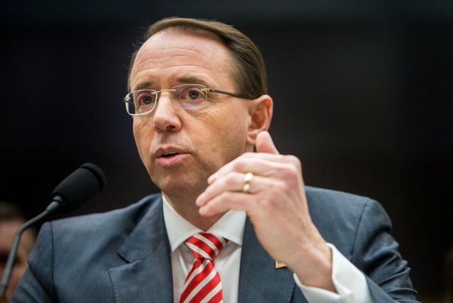 Deputy Attorney General Rod Rosenstein testifies at a hearing on the Justice Department's investigation of Russia on December 13, 2017. Friday, Rosenstein addressed the new indictments against Russian intelligence agents. File Photo by Erin Schaff/UPI