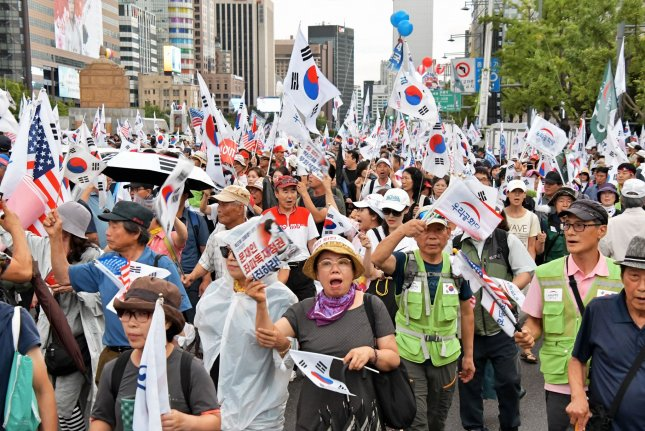 Conservative protesters that hold regular Taegukgi rallies entered the National Assembly on Monday. File Photo by Keizo Mori/UPI