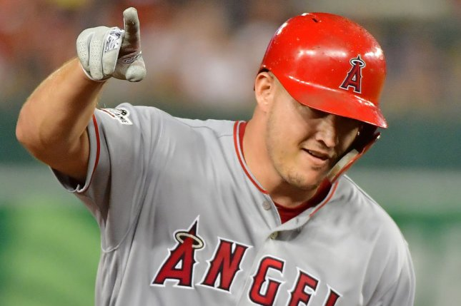 Los Angeles Angels outfielder Mike Trout now has six home runs in his last seven games after he went deep twice Monday in Anaheim, Calif. File Photo by Kevin Dietsch/UPI