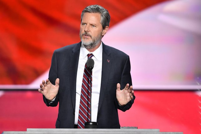 Jerry Falwell Jr., former president of Liberty University, speaks on the final day of the Republican National Convention in Cleveland in 2016. File Photo by Kevin Dietsch/UPI