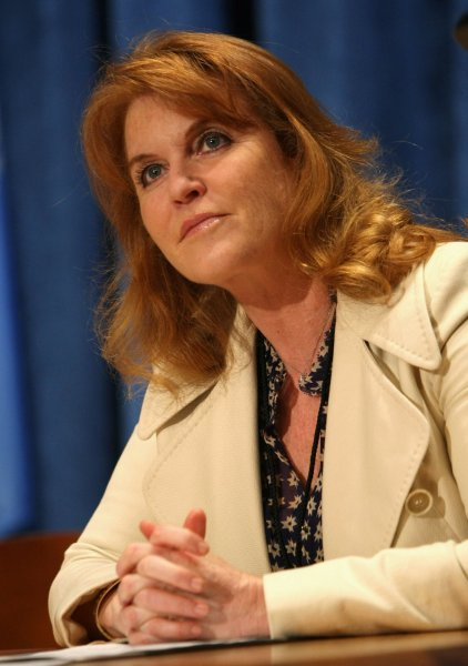 Sarah Ferguson, Dutchess of York, listens during the Engaging Philanthropy to Promote Gender Equality and Women's Empowerment press conference held at the United Nations on February 22, 2010 in New York City. Seminars are being held at the UN to address issues of women empowerment and equality in third-world nations. UPI /Monika Graff