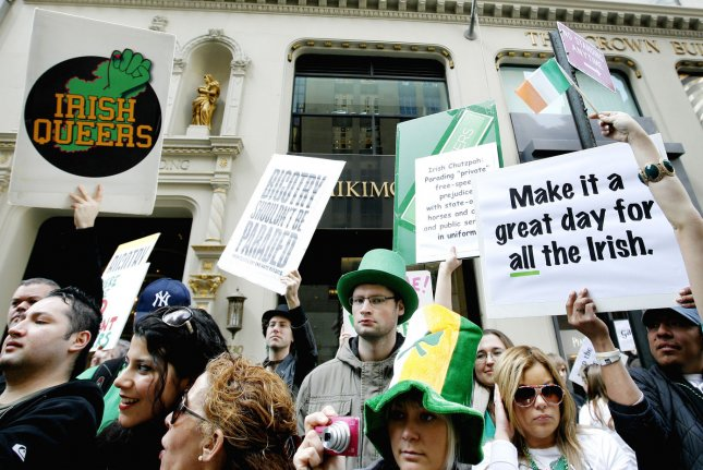 Irish Queers, a lesbian, gay, bisexual and transgender advocacy group, protest their exclusion from the St. Patrick's Day parade while the parade marches up Fifth Avenue on March 17, 2012 in New York City. UPI/Monika Graff