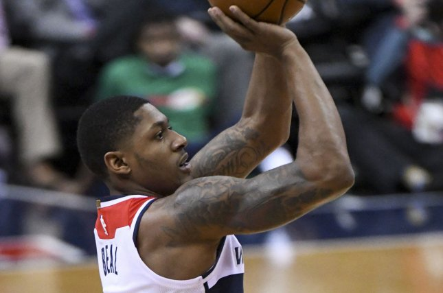 Washington Wizards guard Bradley Beal (3) scores against the Dallas Mavericks in the first half at Capital One Arena in Washington, D.C. on November 7, 2017. File photo by Mark Goldman/UPI