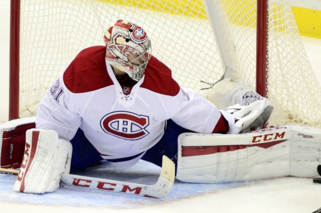 Montreal Canadiens goalie Carey Price made 14 saves to help his team beat the Winnipeg Jets in Game 4 of their Stanley Cup Playoff series Monday in Montreal. File Photo by Archie Carpenter/UPI