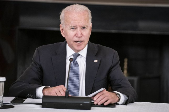 President Joe Biden delivers remarks before a meeting with Cuban American leaders in the State Dining Room of the White House in Washington, D.C., on Friday. Photo by Sarah Silbiger/UPI