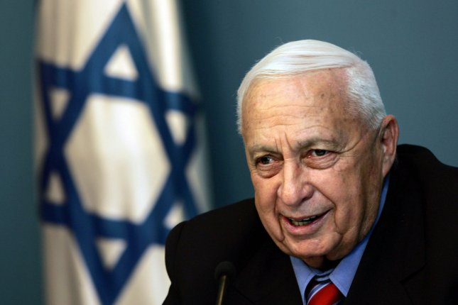 Former Israeli Prime Minister Ariel Sharon died Saturday, eight years after he suffered a massive stroke on January 4, 2005. He is shown during a press conference at his office in Jerusalem, on November 21, 2005. (UPI Photo/Emilio Morenatti/POOL/Files)