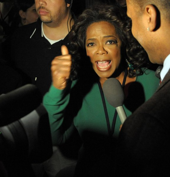Television talk show host Oprah Winfrey speaks to reporters has she arrives for an election night rally for Democratic Presidential Nominee Sen. Barack Obama (IL) in Grant Park in Chicago on November 4, 2008. Obama is expected to address the crowd later this evening. (UPI Photo/Roger L. Wollenberg)
