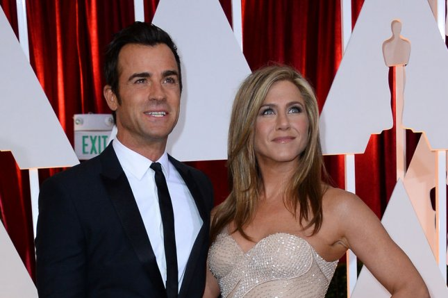 Jennifer Aniston (R) and Justin Theroux at the Academy Awards on February 22. File photo by Jim Ruymen/UPI