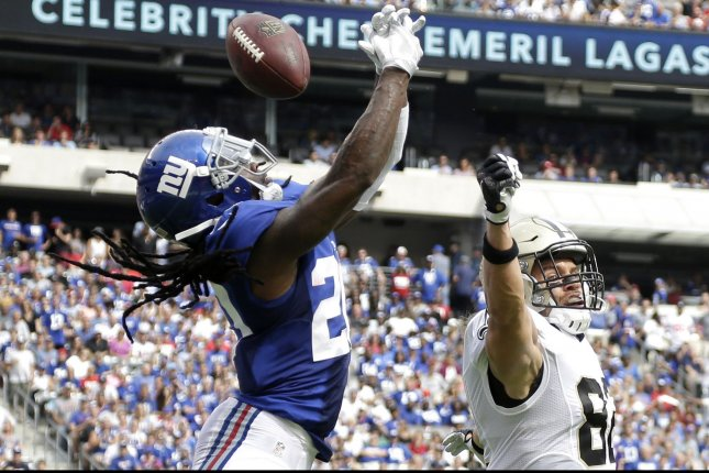 New York Giants Janoris Jenkins breaks up a pass intended for New Orleans Saints Coby Fleener in week 2 of the NFL at MetLife Stadium in East Rutherford, New Jersey on September 18, 2016. The Giants defeated the Saints 16-13. Photo by John Angelillo/UPI