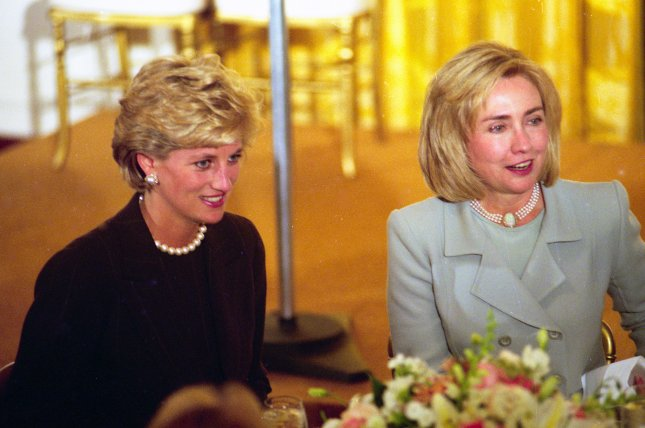 First Lady Hillary Clinton is hostess at the White House in Washington on September 24, 1996, to Britain's Princess Diana. The late Princess Diana's sons are working to have a statue of her installed at Kensington Palace. UPI File Photo