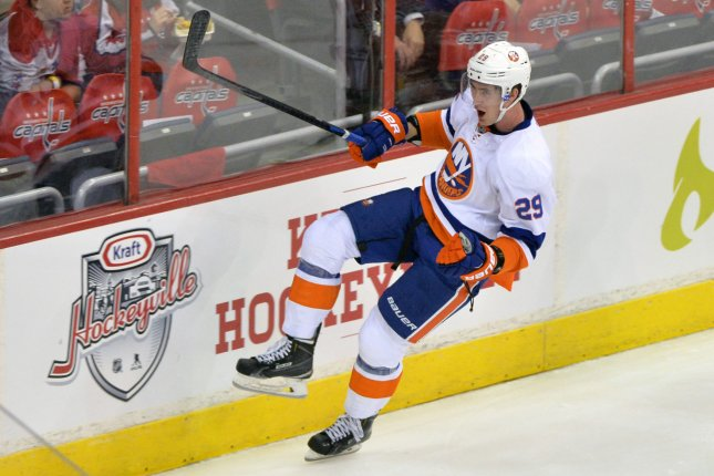 New York Islanders center Brock Nelson scored with 2:18 left in overtime as the Islanders earned a wild 6-5 victory over the Toronto Maple Leafs at Barclays Center. File Photo by Kevin Dietsch/UPI