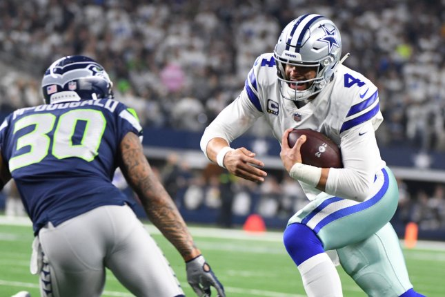 78da34a0130 Dallas Cowboys quarterback Dak Prescott runs for 16 yards against the  Seattle Seahawks during the second half of their NFL wild-card playoff game  at AT&T ...
