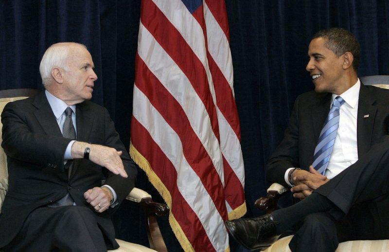 Sen. John McCain of Arizona, left, shown with President-elect Barack Obama Nov. 17, 2008, in Chicago.. (UPI Photo/Frank Polich/Pool)