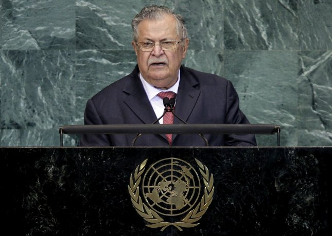 Iraqi President Jalal Talabani was flown to Germany Thursday to be treated for a stroke he suffered this week, his office said. 2010 file photo. UPI/John Angelillo
