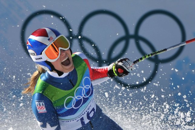 USA's Lindsey Vonn celebrates as she wins the gold medal during the Women's Downhill during the 2010 Vancouver Winter Olympics at Whistler Creekside in Whistler, Canada on February 17, 2010. Vonn won with a time of 1:44.19. UPI/Kevin Dietsch