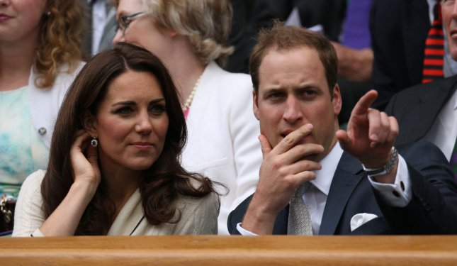 The Duke and Duchess of Cambridge enjoy the tennis in the Royal Box on the ninth day of the 2012 Wimbledon championships in London, July 4, 2012. UPI/Hugo Philpott