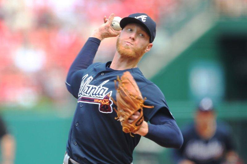Atlanta Braves starting pitcher Mike Foltynewicz delivers a pitch. File photo by Bill Greenblatt/UPI
