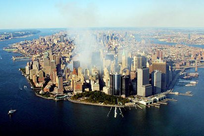 Smoke rises from the destroyed World Trade Center on September 15, 2001, in New York. Researchers say that, two decades later, first responders who were at the scene in lower Manhattan have an increased risk for several cancers. File Photo by Keith Meyes/Pool/UPI