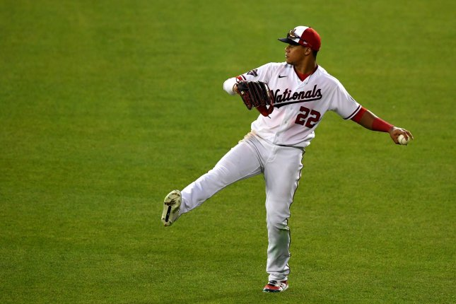Washington Nationals left fielder Juan Soto is a major part of the Nationals' offense. He recorded 34 home runs and 110 RBIs last season and helped the franchise win its first World Series title. File Photo by Kevin Dietsch/UPI