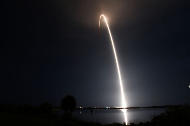 A SpaceX Falcon 9 rocket successfully launched early Friday from Complex 39A at the Kennedy Space Center with two earth-observing satellites for BlackSky Global in addition to 57 Starlink satellites. Photo by Joe Marino/UPI