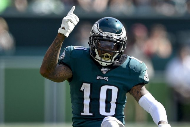 Veteran wide receiver DeSean Jackson (pictured) has agreed to a one-year contract with the Los Angeles Rams and will play alongside wide receivers Robert Woods and Cooper Kupp. File Photo by Derik Hamilton/UPI