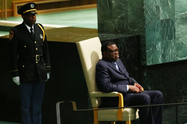 Hage Geingob, president of Namibia, is introduced before he addresses the 70th session of the of the United Nations General Assembly in New York City in 2015. File Photo by Monika Graff/UPI