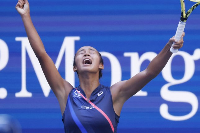 Leylah Fernandez of Canada reacts after defeating Elina Svitolina of the Ukraine in the quarterfinals of the 2021 U.S. Open Tennis Championships on Tuesday inside Arthur Ashe Stadium at the USTA Billie Jean King National Tennis Center in New York City. Photo by John Angelillo/UPI